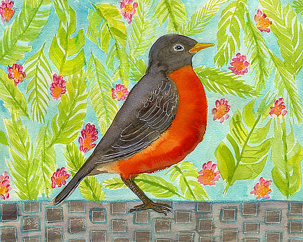 Leaf and Floral Robin by Blenda Studio