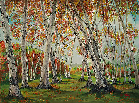Leaning Birches by Charles Hetenyi