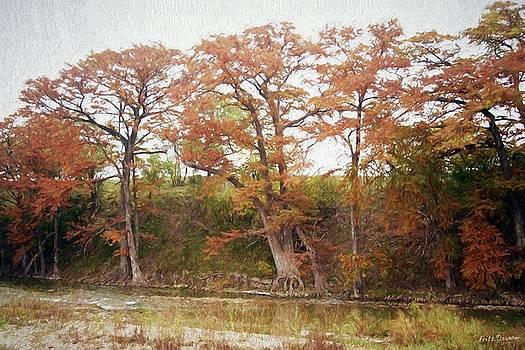 Leaning Elms Farm Fall View - 6888 impres. by Fritz Ozuna