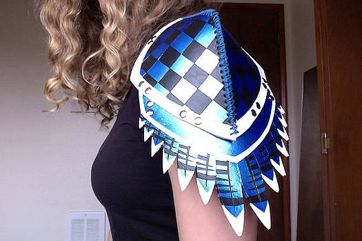 Leather Blue Jay Feather Pauldron by Fibi Bell