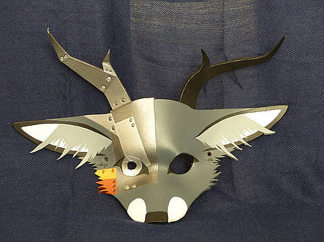 Leather Cyborg Deer-/Fox Mask by Fibi Bell