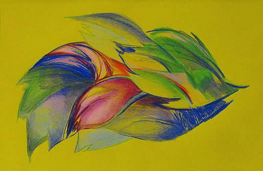 Leaves Falling On Yellow by Cristina Rettegi