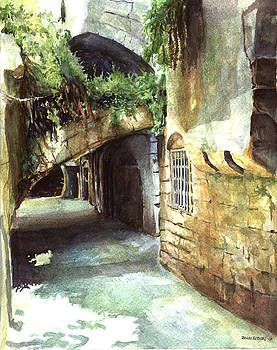 Lebanese Watercolors Jewsish Zone Saida by Zaher Bizri