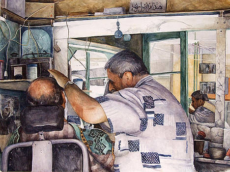 Lebanon Watercolors Barber by Zaher Bizri