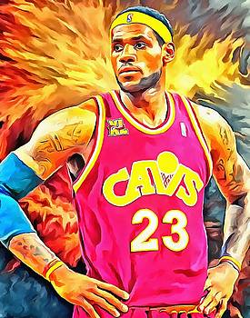 Lebron James Basketball Art Portrait Painting by Andres Ramos