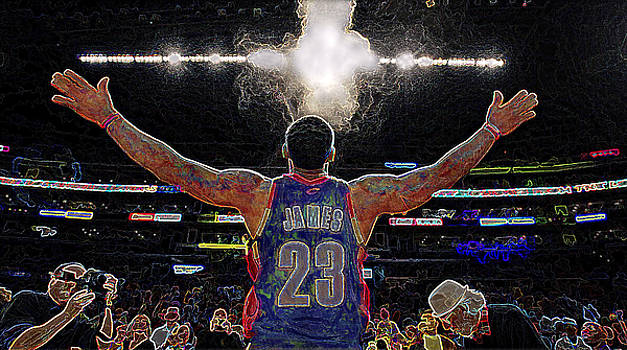 Lebron James Chalk Toss Basketball Art Landscape Painting by Andres Ramos
