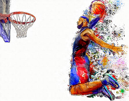Lebron James Dunk in Color Painting by Andres Ramos