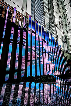 Led board with abstract imagery inside Chicago high rise  by Sven Brogren
