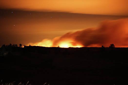 Legion Lake Fire at night by Bill Gabbert