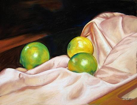 Lemon on silk by Usha P