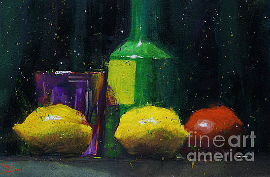 Lemons and rose glass by Andre MEHU