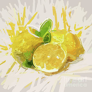 Lemons In Abstract Flair by Clive Littin