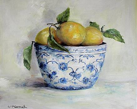Lemons in Blue and White by Gail McCormack