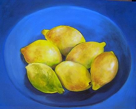 Lemons on blue by Susan Dehlinger