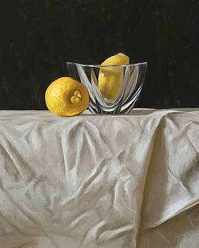 Lemons with Glass Bowl by Shelley Hanna