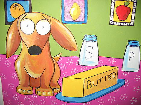 Leo and the butter dish by Rhondda Saunders