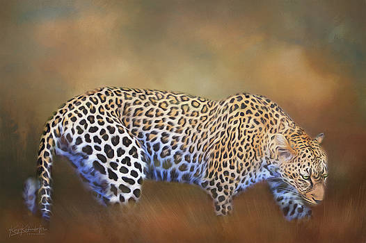 Leopard Crawling Through the Grass by Kay Kochenderfer