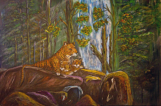 Leopard Family by Dale Carr