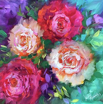 Let the Joy in Roses and Peonies by Nancy Medina