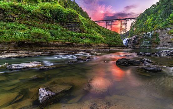 Letchworth Upper Falls At Dusk by Mark Papke