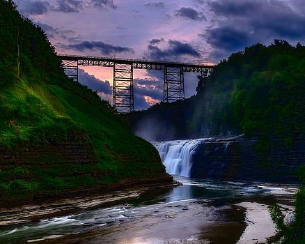 Chris Bordeleau - Letchworth Upper Falls at sunset