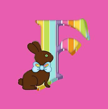 Letter F Chocolate Easter Bunny by Debra Miller