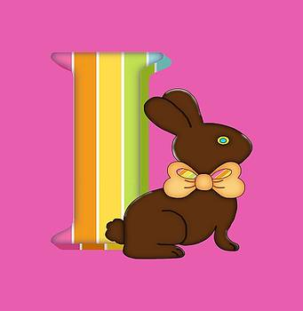 Letter I Chocolate Easter Bunny by Debra Miller