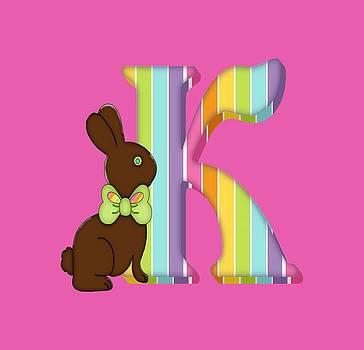 Letter K Chocolate Easter Bunny by Debra Miller