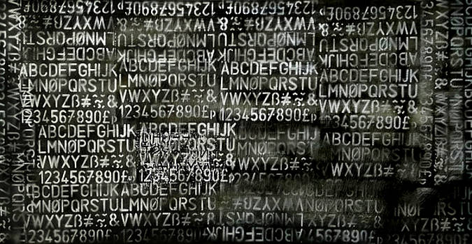 Letters and Numbers Grey on black by Kim Gauge