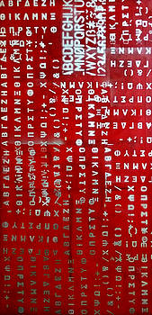Letters and Numbers Silver on Red by Kim Gauge