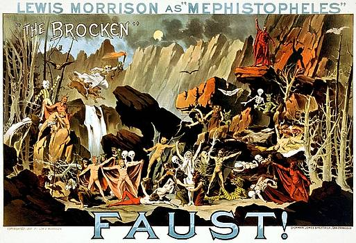 Lewis Morrison as Mephistopheles in Faust, performance poster, ca. 1887 by Vintage Printery