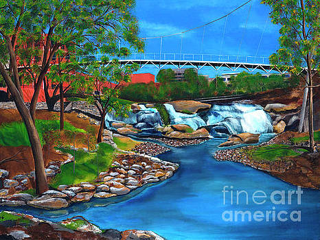 Liberty Bridge at Falls Park in Greenville, South Carolina by AWellsArtworks Fine Art