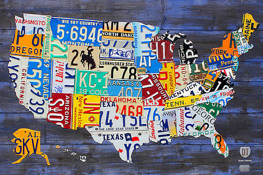 License Plate Map of America Recycled Vintage Art on Blue Reclaimed Barn Wood by License Plate Art and Maps