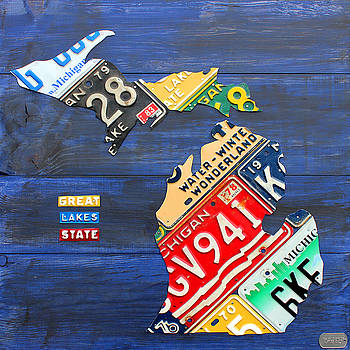 License Plate Map of Michigan on Blue Barn Wood by License Plate Art and Maps