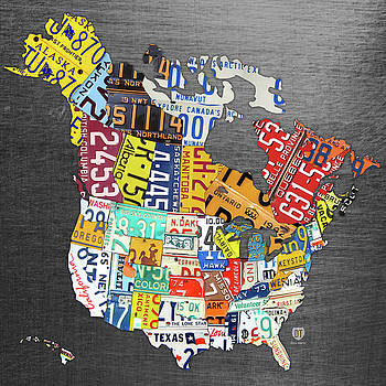 License Plate Map of North America Canada and the United States on Gray Metal by Design Turnpike