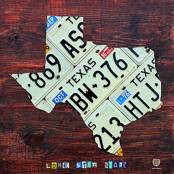 License Plate Map of Texas by License Plate Art and Maps