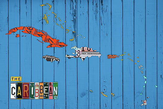 Design Turnpike - License Plate Map of the Caribbean Islands