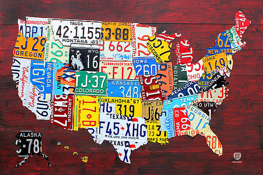 License Plate Map of the United States Edition 14 by License Plate Art and Maps