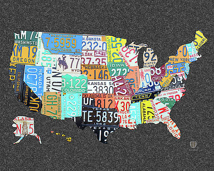 License Plate Map of the United States on Gray Felt Large Format Sizing by Design Turnpike