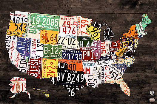 License Plate Map of The United States - Warm Colors / Black Edition by Design Turnpike