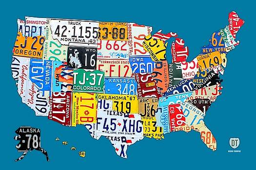 License Plate Map Of The Usa On Royal Blue By Design Turnpike