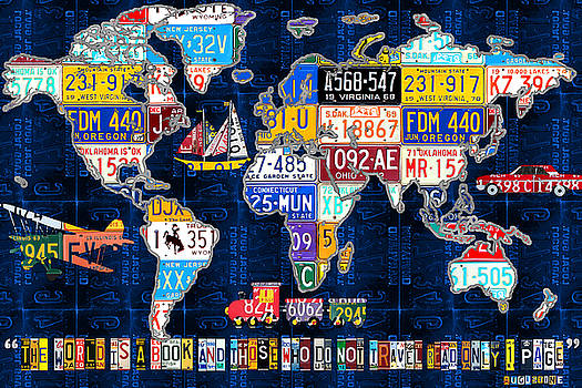 License Plate Map of the World Travel Recycled Vintage Art with Augustine Quote by Design Turnpike