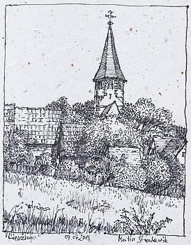 Martin Stankewitz - Lienzingen, Ortsrand mit Wehrkirche