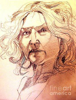 Life Drawing Sepia Portrait Sketch Medusa by Greta Corens