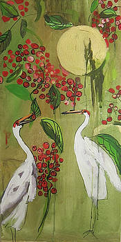 /Life Of Magical Birds Under A Moon With Berries  by Colette Wirz