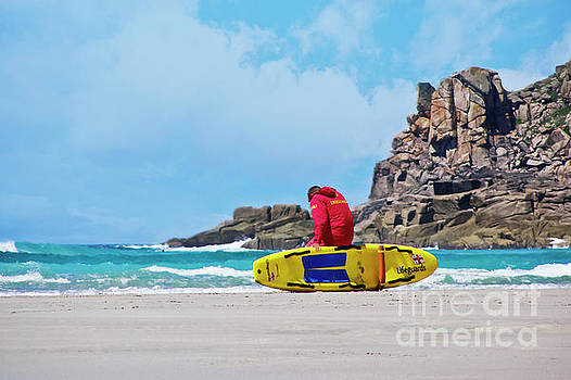 Lifeguard at Gwenver by Terri Waters