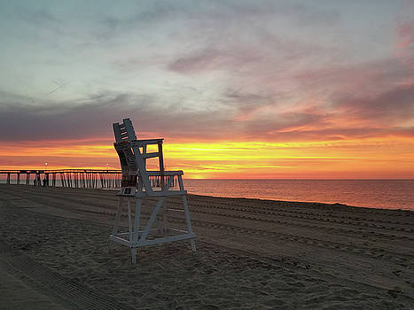 Lifeguard Stand on the Beach at Sunrise by Robert Banach