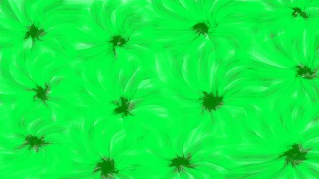 'Light Green and Dark Green Flower Abstract'  by Linda Velasquez