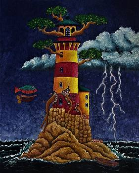 Light House On The Rocks by Nhoj Yesdnil