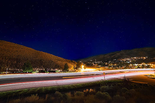 Light It Up Tonight, Long Exposure of Somersett Traffic Light Trails and Stars on a Summer Night by Brian Ball